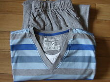 M&S MENS JERSEY LONG PYJAMA SET GREY STRIPE BNWOT S M L XL   *FAULTY*