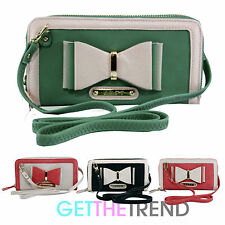 Womens Authentic LYDC Designer Double Zipped Wallet Purse Shoulder Clutch Bag