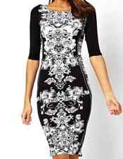 Asos Black/White Baroque Mirror 3/4 Sleeve Bodycon Midi Dress Sizes 6 8 10 12 14