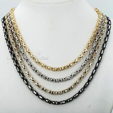 """18""""-36"""" 5mm Byzantine Box Stainless Steel Necklace Men's Chain New Fashion Gift"""