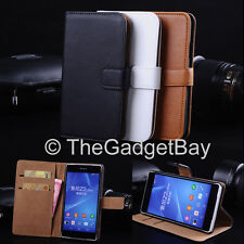 Luxury Genuine Real Leather Flip Case Wallet Cover For The New Sony Xperia T3