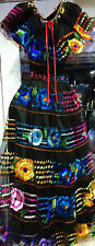 Chiapas Womens Folklorico Traditional Dance Fiesta Suit Set Embroidery Black New