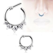 1 CLEAR 5 GEM SEPTUM CLICKER  DAITH RING TRAGUS CARTILAGE 14G, 16G, CLEAR ONLY