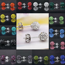NEW Wholesale Disco Ball Bead Plated Silver Crystal Stud Earring