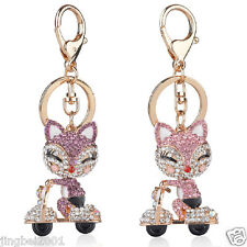 Crystal Golden Color Animal Electric cars Fox Chain Pendant Keychain Key Ring