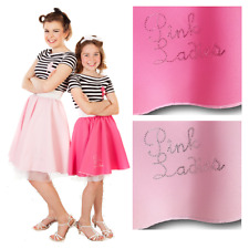 ROCK AND ROLL Pink ladies diamante SKIRT 1950S GREASE LADIES FANCY DRESS COSTUME