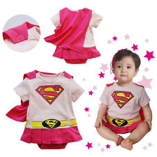 Baby Girl Superman Supergirl Superhero Dress Bodysuit Outfit  with Removab Cape