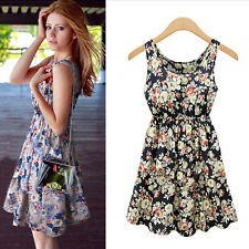 Women's Sleeveless Chiffon Floral Summer Cocktail Party Casual Short Mini Dress