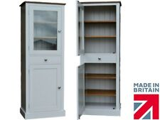 Solid Pine Cupboard, Contemporary Painted Glazed Display Kitchen Cabinet Storage