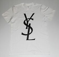 YSL T-Shirts Black Vinyl Yves Saint Laurent White Shirt