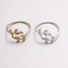 Matt Delicate Nature Olive Tree Branch Leaf Shaped Open Ring Adjustable Size