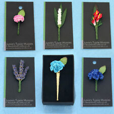 """Tussie Mussie Flowers for """"Poirot"""" Vintage-Style Lapel Pin Vases, Posy Holders."""