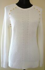 NWT MICHAEL KORS GOLD STUDDED SHOULDER RIBBED SWEATER VARIOUS COLORS & SIZES