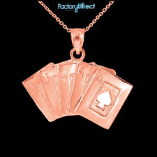 Rose Gold Poker Royal Flush Pendant Necklace Ace Of Spade A K Q J 10 Poker Cards