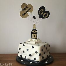 HAPPY ANNIVERSARY CHAMPAGNE & BALLOONS CAKE TOPPER  MANY COLOURS/ ANY NUMBER