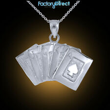Sterling Silver Royal Flush Pendant Necklace Ace Of Spade A K Q J 10 Poker Cards