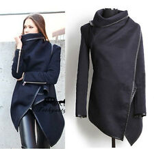 New Autumn Winter Fashion Black Asymetric  Zipper Sleeve Trench Coat(darXK1386)