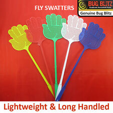 LARGE HAND FLY SWATTERS- WASP Long Handled Lightweight Plastic Bug Killer Zapper