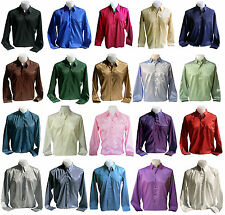 Mens Thai Silk Shirt Long Sleeve Casual Formal Dress M - L - XL - XXL 20 Colours