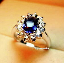 White Gold Plated Women Oval Blue Sapphire Swarovski Crystal Engagement Ring R9