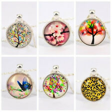 Stylish Flower Leopard Life of Tree Butterfly Pendant Glass Cabochon Necklace