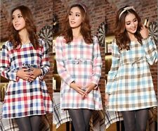 New fashion pregnant women plaid ling sleeve shirt maternity winter dress