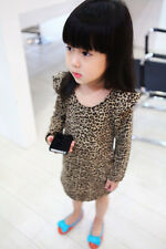 2014 New Baby Kid Girls Sexy Leopard Mini Long Sleeve Bottoming Dresses 2-7 Year
