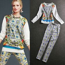 2014 new arrival occident fashion loose printed top+Floral pattern pants suits