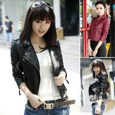 New Fashion Womens Synthetic Leather Jacket Short Slim Coat Motorcycle Black HOT