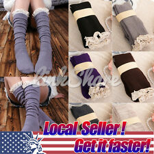 Crochet Lace Cotton Knit Footed Leg Warmers Boot Socks Knee High Stockings AG