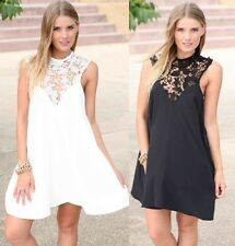 Sexy Womens Casual Sleeveless Party Evening Cocktail Lace Chiffon Mini Dress