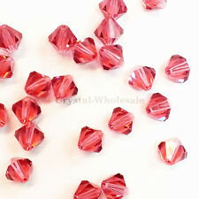 4mm Indian Pink (289) Genuine Swarovski crystal 5328 / 5301 Loose Bicone Beads