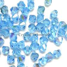 3mm Aquamarine AB (202 AB) Swarovski crystal 5328 / 5301 Loose Bicone Beads