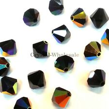 3mm Jet AB (280 AB) Swarovski crystal 5328 / 5301 Loose Bicone Beads