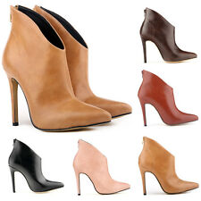WOMENS  FAUXLEATHER  HIGH STILETTO HEEL PLATFORM ANKLE BOOTS SHOES US4-11 LADIES