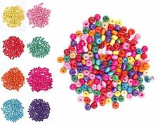 500 Pcs Colorful Rondelle Wood Spacer Loose Beads Charms 6 mm