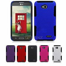 For LG Optimus L70 Realm LS620 Dual Layer Hybrid Net Mesh Case Cover + Screen