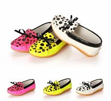 Fashion Kids Toddler Girls Polka Dot Bow Loafers Leather Flat Slip-on Crib Shoes