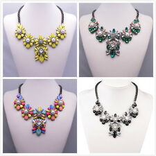 Flower Crystal Bib Statement Necklaces Chunky Bubble Choker Collar Pendant Chain
