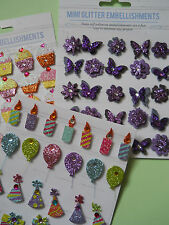 Pack of 25 Mini Glitter Embellishments Card Making Cupcakes  Butterflies Party