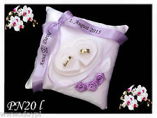 ~ Personalised wedding rings cushion pillow with rings holder ribbon bow ~