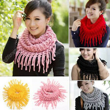 Women Lady Girl Warm Infinity 2 Circle Knit Cowl Neck Long Tassel Scarf Shawl 41