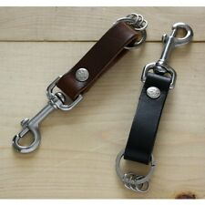 Leather Key Fob Belt Loop Holder Stainless Steel Snap Hook - Handmade in USA