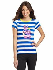 Paul Frank Julius All The Love You Need Blue White Juniors Striped T-Shirt Top