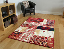 Modern Red Patchwork Cheap Fireplace Rug Soft Non Shed Blue Living Room Carpets