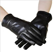 Winter Mens Womens Warm Black Gloves Thick Cycling Driving Faux Leather Gloves
