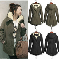 Women Winter Hooded Faux Fur Fleece Trench Coat Parka  Outwear Overcoat Jacket