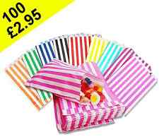 100 STRIPED CANDY PAPER BAGS FOR SWEET PICK AND MIX 5x7 INCH - WEDDING CAKE GIFT