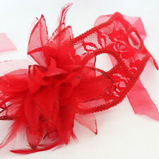 NEW Venetian Eye Mask Feather Lace RED Flower Masquerade Ball Carnival Halloween