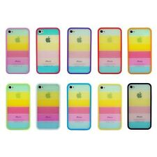 Rainbow Colour Bumper Hard Skin Back Case Cover Protector For Apple iPhone 4S 4